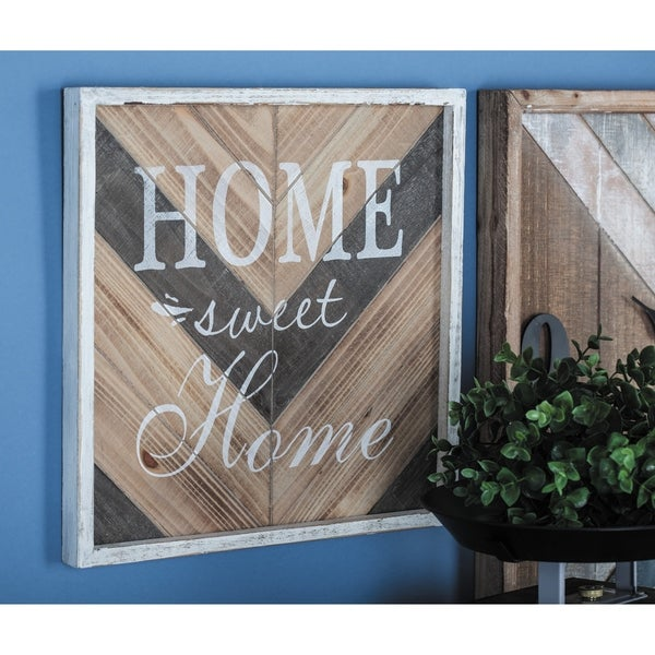 Studio 350 Wood Wall Sign Set of 2, 14 inches wide, 14 inches high