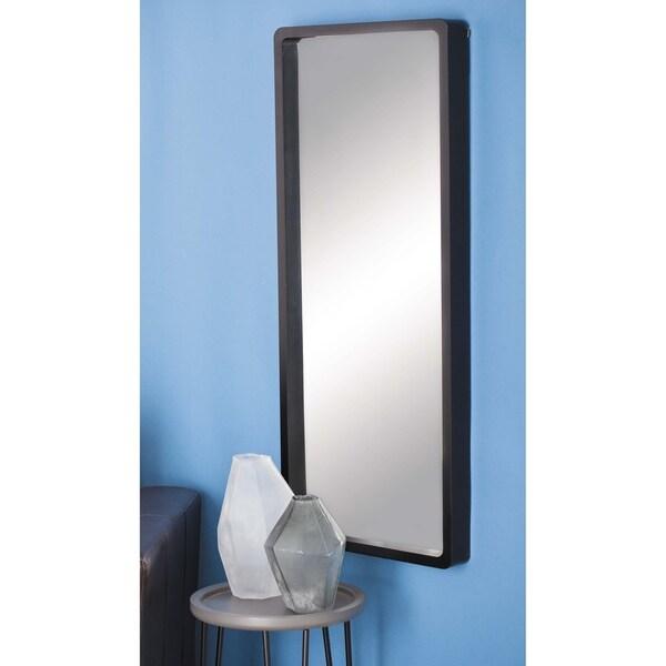 Porch & Den Merrie Lynn Black Wood Rectangular Mirror