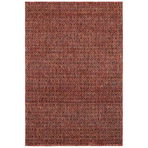 "Porch & Den Meinecke Red Textural Area Rug - 6'7"" x 9'6"""