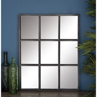 Porch & Den Merrie Lynn Grid Metal Wall Mirror - Grey