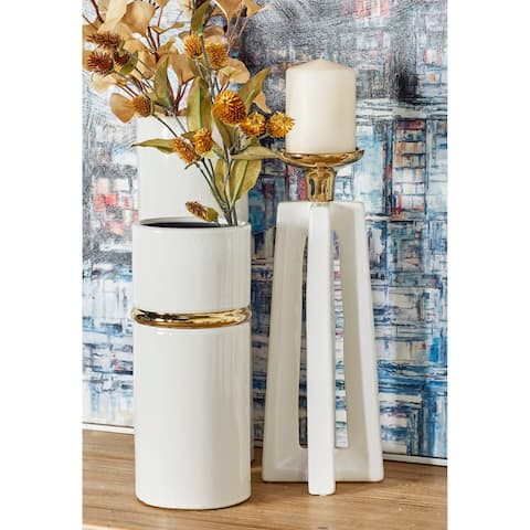 Tall Gold & White Stone Modern X-Shaped Candle Holders Set of