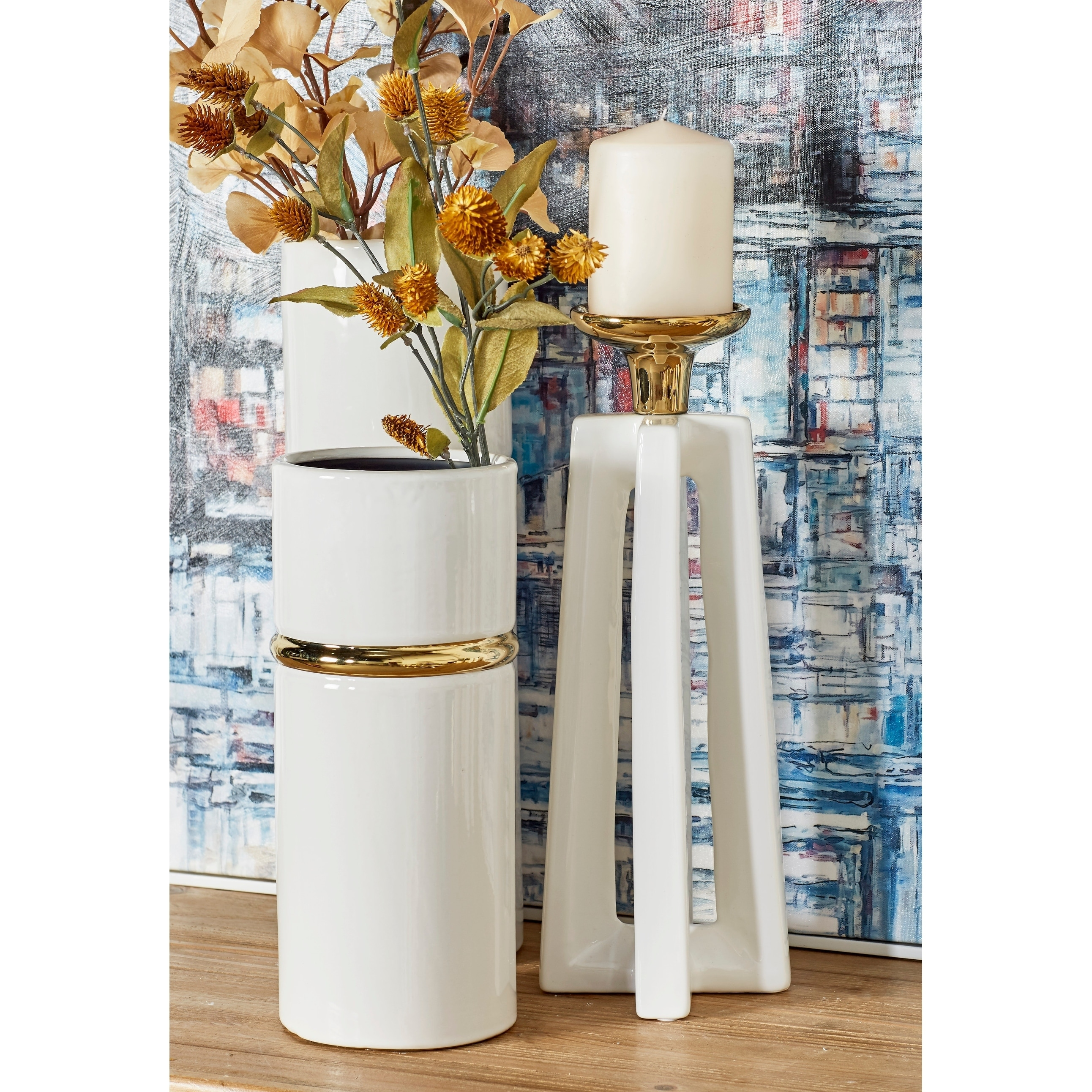 Tall Gold White Stone Modern X Shaped Candle Holders Set Of Overstock 21409653
