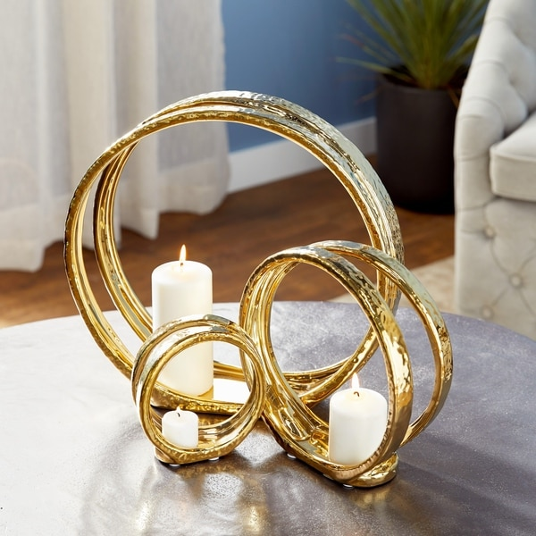 Strick & Bolton Buri Gold Ceramic Ring Candle Holders (Set of 3)
