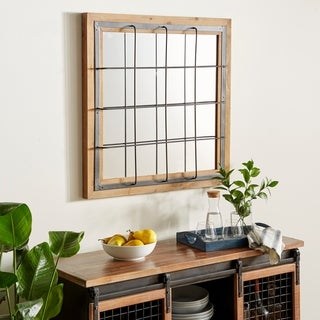 Carbon Loft Mackintosh Iron and Wood Grid-patterned Wall Mirror - Blue