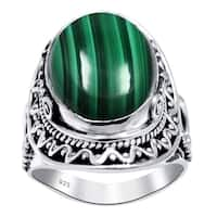 Sterling Silver Gemstone Bridal Ring with Genuine Turquoise and Malachite