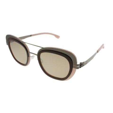 ic! Berlin Cat-Eye Chichi Women Shiny-Bronze Flamingo Frame Cinnamon Mirror Lens Sunglasses