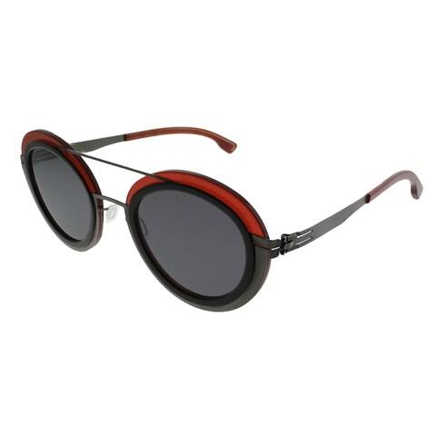 ic! Berlin Round Cancan Women Graphite Merlot Frame Black Nylon Lens Sunglasses