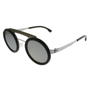 ic! Berlin Round Pompom Unisex Chrome Seaweed Frame Quicksilver Lens Sunglasses