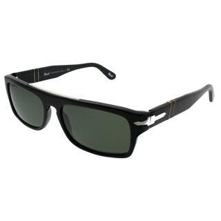 Persol Rectangle PO 2912S 95/31 Unisex Black Frame Green Lens Sunglasses