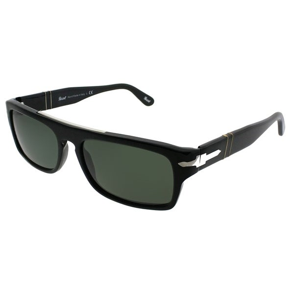 2ba4a79f082a4 Persol Rectangle PO 2912S 95 31 Unisex Black Frame Green Lens Sunglasses