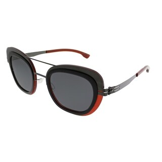 ic! Berlin Cat-Eye Chichi Women Gun-Metal Merlot Frame Black Nylon Lens Sunglasses