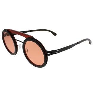 ic! Berlin Round Pompom Unisex Black Merlot Frame Bernstein Mirror Lens Sunglasses