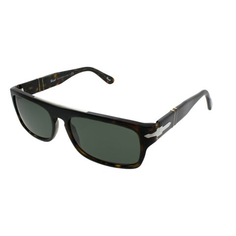 Persol Rectangle PO 2912S 194/31 Unisex Havana Frame Green Lens Sunglasses
