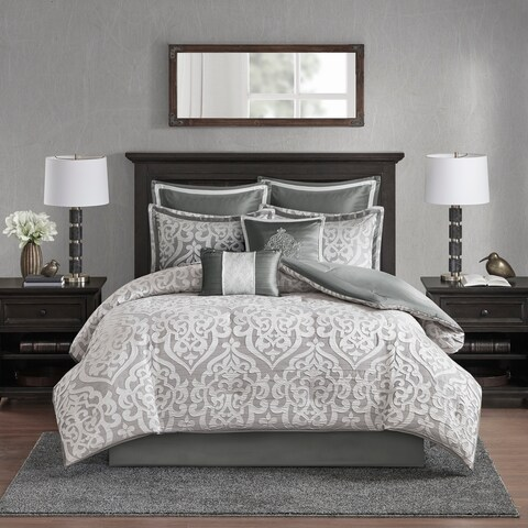 Madison Park Dillon Silver 8 Piece Jacquard Comforter Set