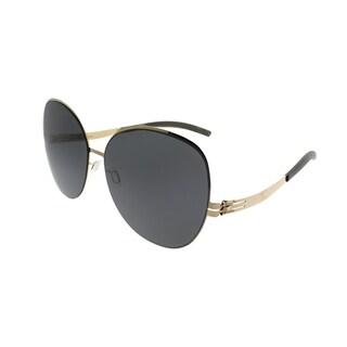 ic! Berlin Square Virginia P. Women Rose Gold Frame Black Nylon Lens Sunglasses