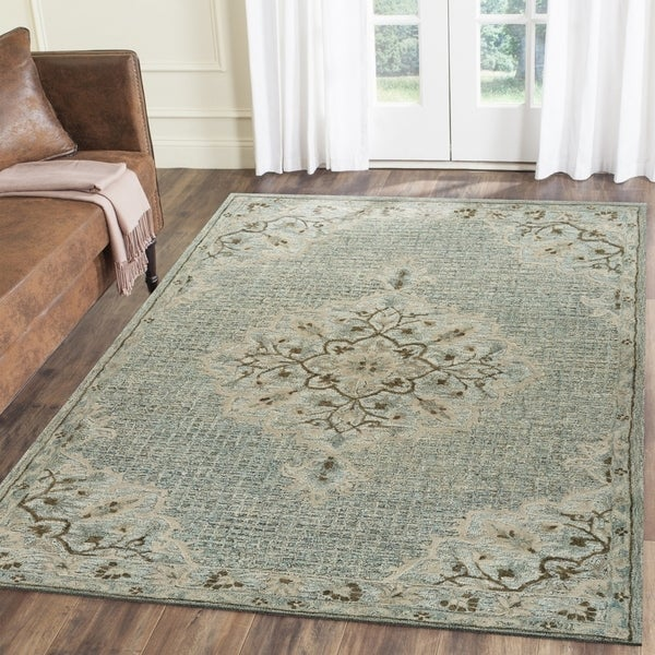 LR Home Hand Tufted Modern Traditions Blue Lagoon Wool Cotton Rug - 8' x 10'