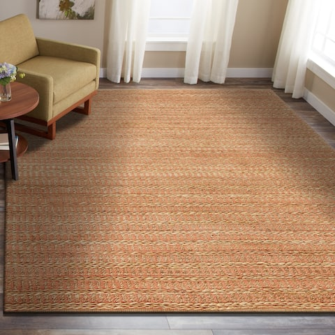 LR Home Hand Woven Natural Fiber Ryder Fusion Coral Jute/ Chenille Rug - 8' x 10'