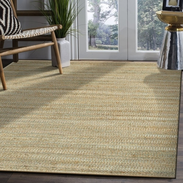 LR Home Hand Loomed Natural Fiber Sonora Spa Blue Jute/ Chenille Rug - 9' x 12'