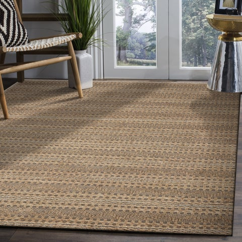 LR Home Hand Woven Natural Fiber Fog Looped Gray Jute/ Chenille Rug - 8' x 10'
