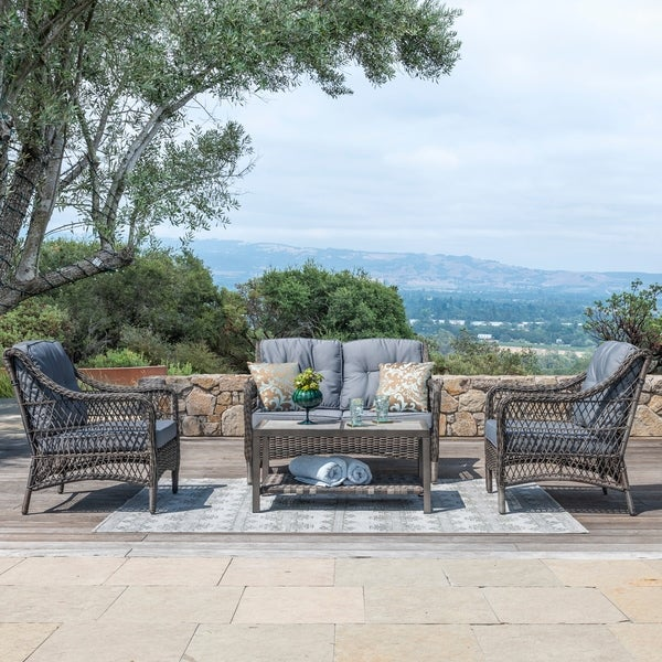 Corvus Vasconia Outdoor 4-piece Brown Wicker Sofa Set with Sunbrella Pillows