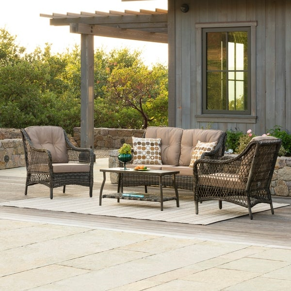 Corvus Vasconia Outdoor 4-piece Brown Wicker Sofa Set with Sunbrella Pillows