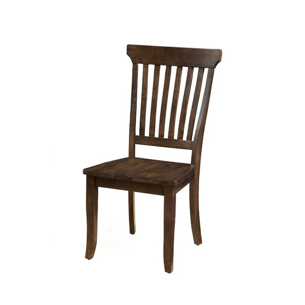 Slatted High Back Side Chairs In Rubberwood Set Of 2 Brown