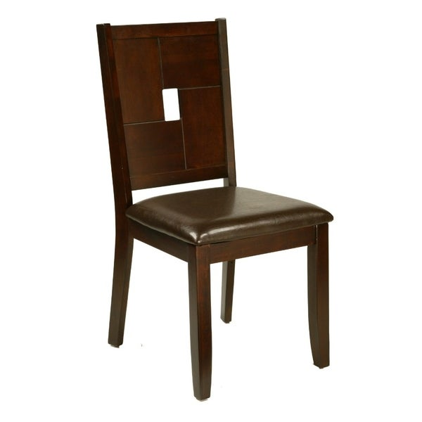 Wooden Side Chair With Padded Upholstery Set Of 2 Brown