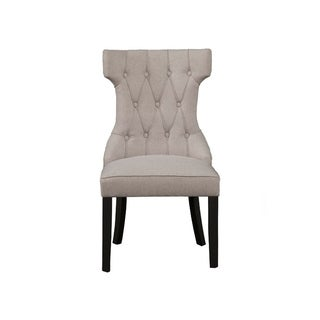 Upholstered Button Tufted Side Chairs With Wooden Base Set Of 2  Gray