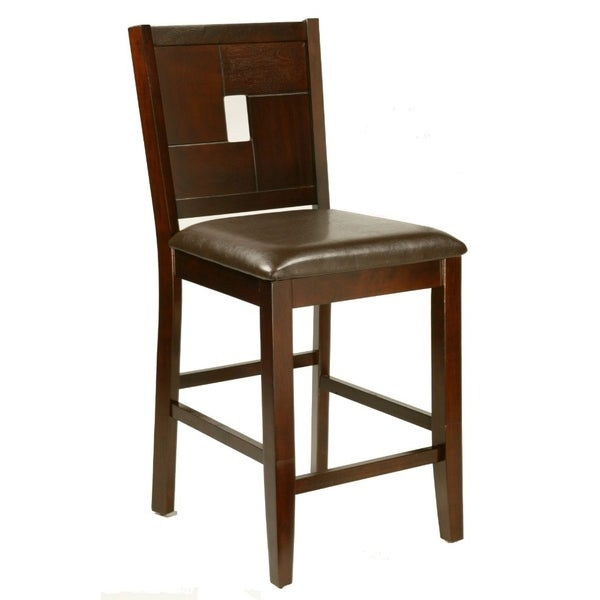 Counter Height Pub Chair With Leather Upholstery Set Of 2 Brown