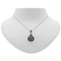 Addison Lane Swiss Blue and London Blue Topaz with Marcasite Teardrop Necklace