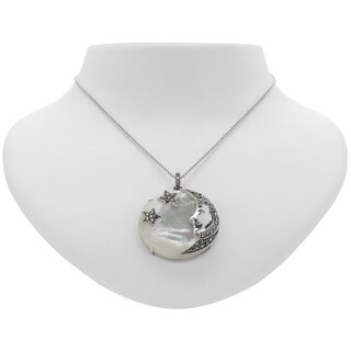 Addison Lane Marcasite and White Mother of Pearl Moon and Stars Disc Pendant