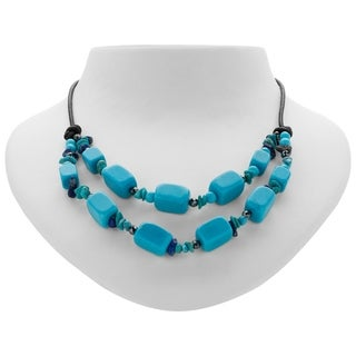 "Romilly 30"" Howlite,Turquoise and Hematite Leather Cord Necklace"