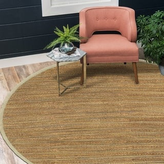 LR Home Hand Loomed Natural Fiber Sonora Prague Jute/ Chenille Rug - 8' Round