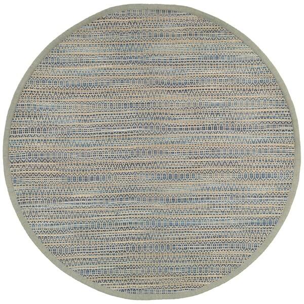 LR Home Natural Fiber Antique Diamond Striped Blue Area Rug - 8' x 8'