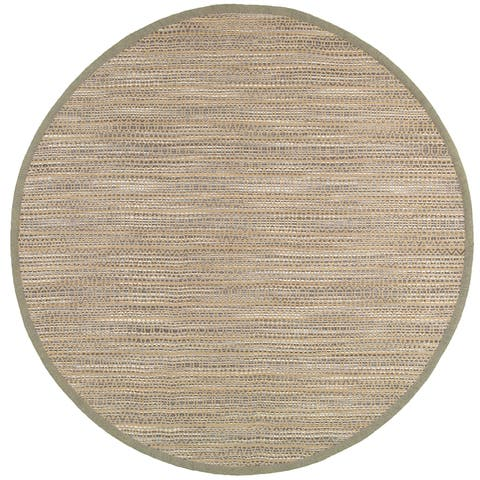 LR Home Hand Loomed Natural Fiber Striped Gray Jute/ Chenille Rug - 8' x 8'