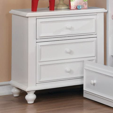 Wooden Night Stand With 3 Drawers, White