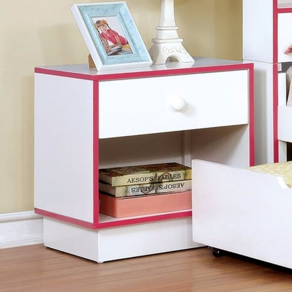 Wooden Night Stand with 1 Drawer, Pink & White