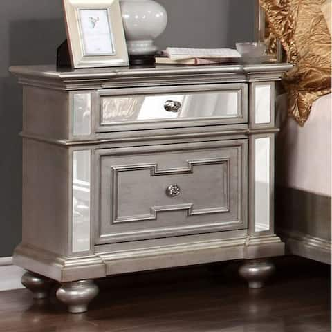 Salamanca Contemporary Night Stand In Silver