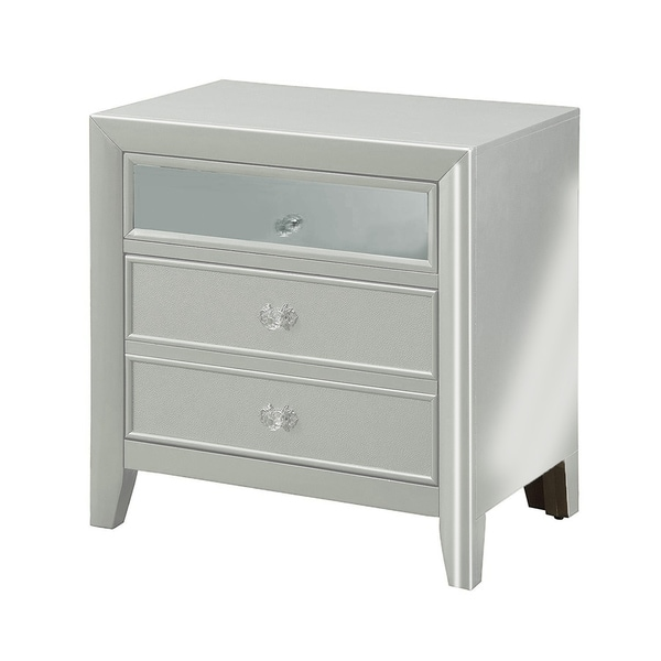 3 Drawers Wooden Night Stand With Tapered Legs, Silver