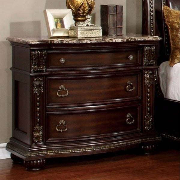 Fromberg Traditional Style Night Stand, Brown Cherry