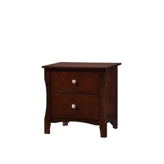 Riggins Contemporary Night Stand In Brown Cherry Finish