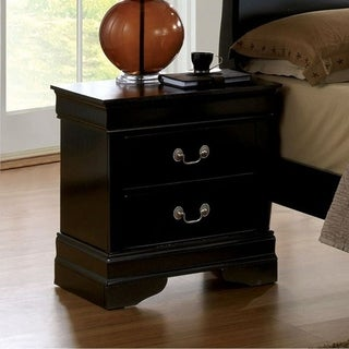 Louis Philippe III Contemporary Style Night Stand, Black Finish