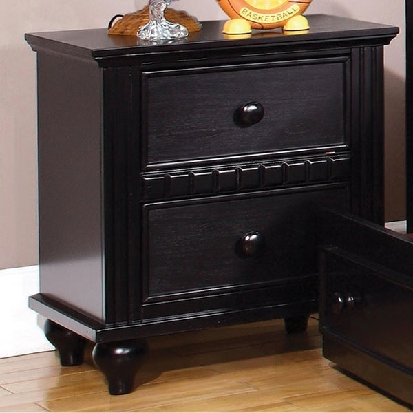 Caspian Transitional Style Night Stand, Black