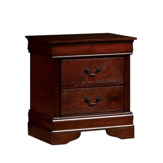Transitional Style Wooden Nightstand with Two Spacious Drawers, Brown