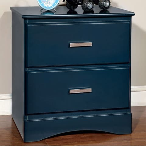 Prismo Transitional Style Night Stand, Blue