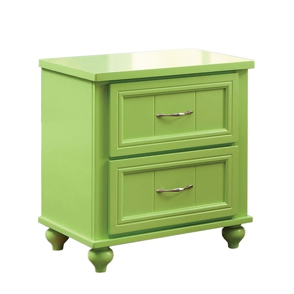 Lacey Contemporary Nightstand, Apple Green Finish