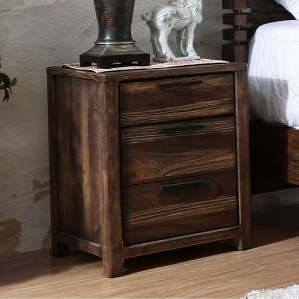 Hankinson Transitional Style Night Stand, Rustic Natural Tone