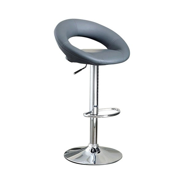 Leather & Metal Bar Stool, With Adjustable Height, Pack Of 2, Gray
