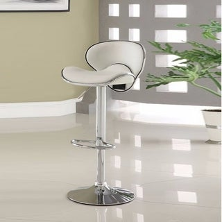 Leather & Metal Bar Stool With Adjustable Height, White