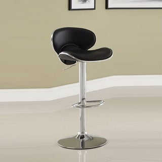 Leather & Metal Bar Stool With Adjustable Height, Black